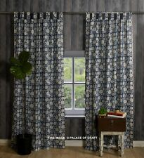 Indian Block Printed Door Window Curtains Cotton Ethnic Drapery Valance 2 PC Set