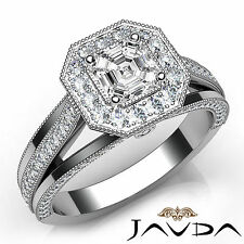 Asscher Diamond Engagement Milgrain Halo Ring GIA F VS1 18k White Gold 1.62Ct