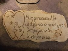 Dog Cat Paw Print Stepping Stone Grave Durable Pet Memorial Heart Plaque Garden