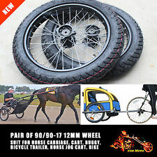 Set of Horse Sulky JOG Cart Buggy Wheels/Tires 90/90-17 Inch Wheel 12mm Axle
