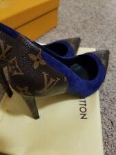LV Cherie Fetish Pumps, 8.5 Monogram and blue suede