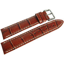 22mm Hirsch Modena Mens Gold Brown Tan Alligator-Grain Leather Watch Band Strap