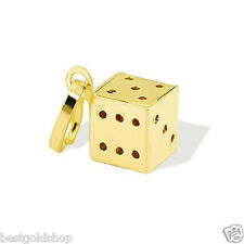 New Italian 3D All Shiny Lucky Dice Charm Pendant Real Solid 14K Yellow Gold