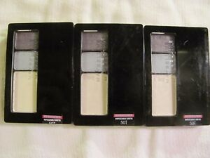 Maybelline Expert Wear Eye shadow Eyeshadow Trios, 50T Impeccable Greys Lot of 3