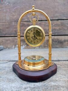 Maritime Nautical Brass Clock With Attached Compass Desk Clock Table Top