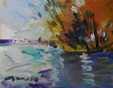 JOSE TRUJILLO - ORIGINAL Signed OIL PAINTING Modern IMPRESSIONISM Lake - ARTWORK