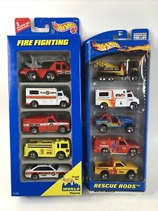 🔥 Hotwheels (2) 5-Pack Fire Fighting Rescue Rods Vehicles Gift Pack 7 Spokes
