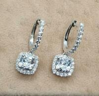 14K White Gold Over 2.50 Ct Cushion and Round Diamond Halo Drop/Dangle Earrings