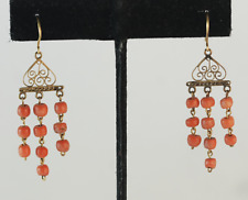 Vintage Coral Dangle Drop Pierced Earrings 22k Yellow Gold Filigree