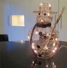 Indoor Xmas Gold Rattan SNOWMAN  46 cm tall 20 battery powered lights gift