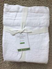 POTTERY BARN Belgian Flax Linen FULL Sheets 4 Piece Set NEW - WHITE
