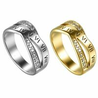 Women Stainless Steel CZ Roman Numeral Ring Engagement Promise Wedding Band #6-9