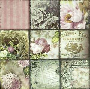 N280# 3x Single Paper Napkins For Decoupage Vintage Photos Mini Pictures Flowers