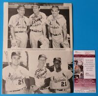 STAN MUSIAL SIGNED 3 TIMES 8.5x11 MAGAZINE PAGE ~ 6 Autos ENOS SLAUGHTER JSA COA