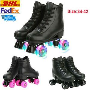 Women Men PU Leather Roller Skates Double Row Flashing Wheels Outdoor For Youth✅