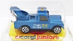 Corgi junior Land Rover tow truck mint carded, 5 spoke wheels