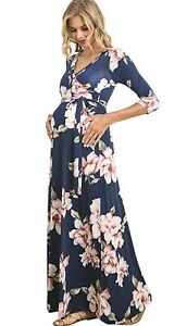 HELLO MIZ Women Wrap Maxi Maternity Dress with Belt Made in USA Navy Floral M