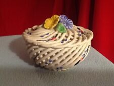 Covered Candy Dish Ceramic Applied Roses Basket Weave Bowl