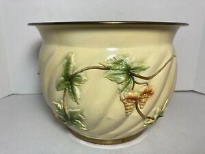 "Vintage Handcrafted Painted Brass Planter Raised Floral Flower Design 10"""