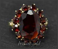 Granat Damen Ring aus 333 Gold, 11ct rote Granate, Cocktailring, Gelbgold