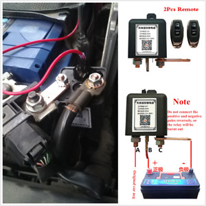 Car Battery Disconnect Relay Master Kill Switch w/Wireless Dual Remote Control