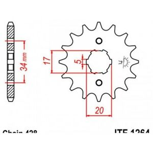 Pignon acier 15 dents jt chaîne 428 honda cbr125r Jt sprockets JTF1264.15
