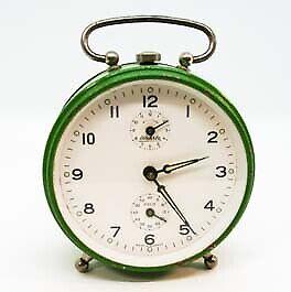 VINTAGE 1950S GERMANY WEHRLE GREEN ALARM CLOCK