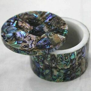 2.5 Inches Marble Trinket Box Abalone Shell Stone Ring Box with Random Work