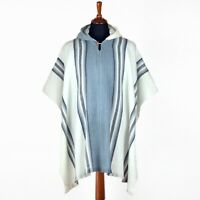 Llama Wool Mens Unisex South American Poncho Cape Coat Jacket White Gray striped