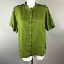 Eileen Fisher Womens Short Sleeve Olive Green Blouse Button Up 100% Irish Linen