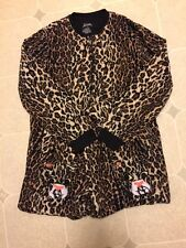 NICK AND NORA Leopard Print Long Johns One Piece Footed sz M Medium