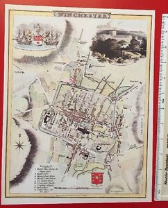 Old Antique Victorian map Winchester, England early 1800's Cole & Roper Reprint