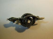 Broche Art Nouveau Serpent Argent tressé Formant port médaille ou montre poinçon