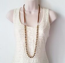 """Gorgeous 36"""" long brown tone - bronze glass bead & cord necklace  * NEW *"""