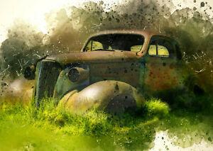 Fotodruck Bild Old Car Oldschool Vintage modern Classic 20x30 zun einrahmen