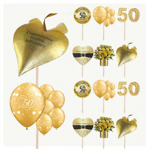 Golden 50th Wedding Anniversary Cake & Food Party Decorations Picks Toppers 14PK