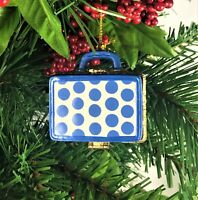 Blue White Polka Dot Suitcase Porcelain Hinged Trinket Box Christmas Ornament
