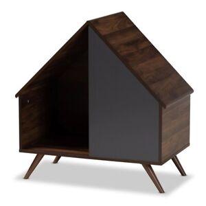 "Cat Litter Box Cover / Cat House ""A"" Frame Walnut Brown & Gray"