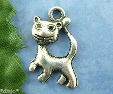Colgante 5 unidades gato bricolaje Antik plata pendant Cat Kitten 1,8 x 1,3 cm