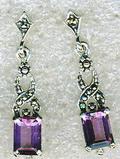 925 Sterling Silver Amethyst & Marcasite Drop / Dangle Earrings   1.1/4""