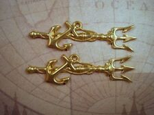 Stampings (2) - Rat3081 Jewelry Finding Large Raw Brass Spear And Anchor