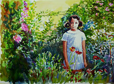 """Stordimento doranne Alden ORIGINALE """"nella mia madre's Garden"""" dipinto ad acquerello"""