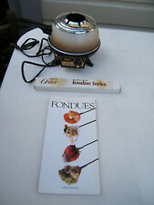 Vintage Oster Tan Electric Fondue Pot with Ring, Forks & Book