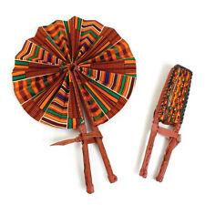 African Kente #1 Leather Folding Fan