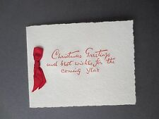 Vintage CHRISTMAS Card Greetings Plain Embossed Text Textured Card 1950s