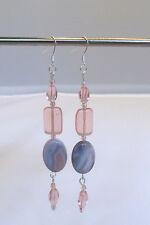 Peach and Grey Dangle Earrings. 3 5/8 Inches.