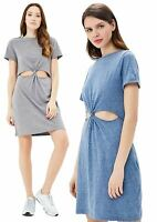 Ladies Cut Out Jersey T Shirt Dress Womens Twisted Knot Stylish Design