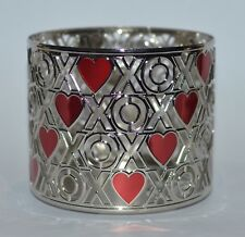 BATH BODY WORKS RED HEARTS XOXO CHROME LARGE 3 WICK CANDLE HOLDER SLEEVE 14.5 OZ