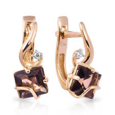 Earrings NEW Russian Solid Rose Gold 14K 585 fine jewelry raukh topaz 2.26g