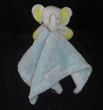 Blankets & Beyond Elephant Gray & Blue Security Blanket Stuffed Animal Plush Toy